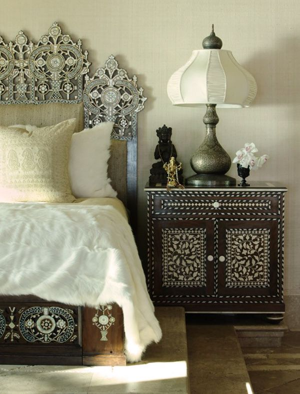 Boho Bohemian Chic White Linen Sheets Bedding Bed Vintage Earthy Neutral Bedroom Moroccan Painted Furniture Dresser Nightstand Frame Headboard Marrakech