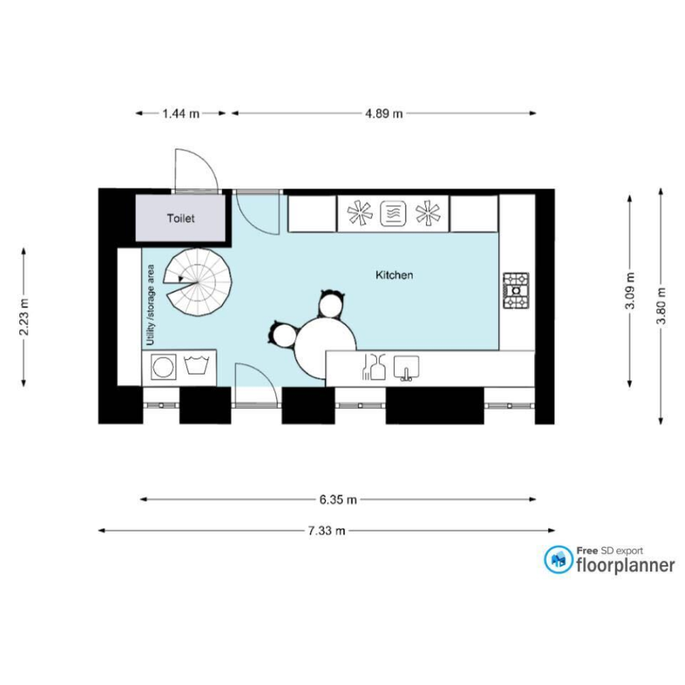 2d Plan Of A Kitchen Created With Floorplanner Com In 2020