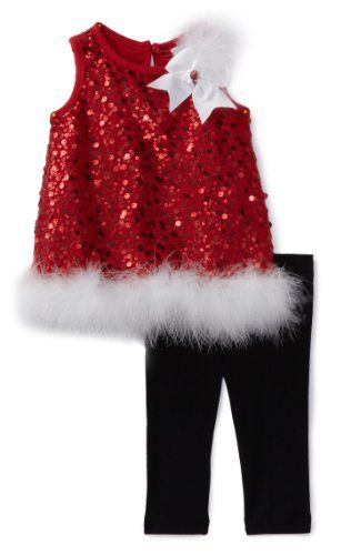 Rare Editions Baby-Girls Newborn Sequin Legging Set, Red/Black/White