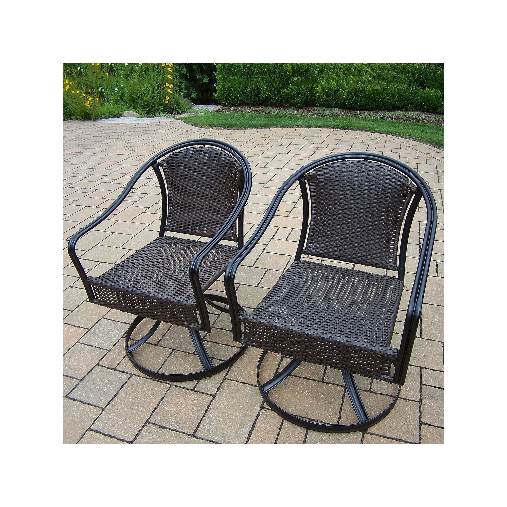 Outdoor Tuscany Swivel Wicker Patio Chair 2 piece Set Multicolor