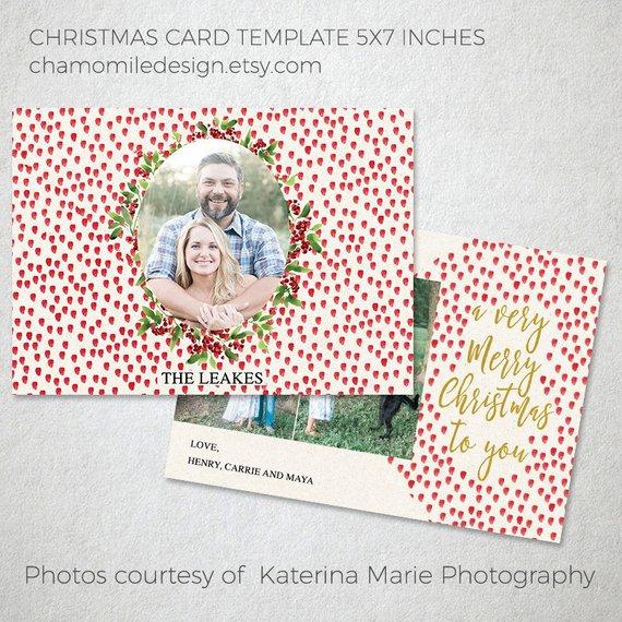Photo Christmas Card Template Christmas Photoshop Template Holiday