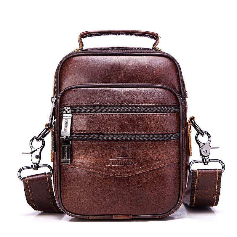 Men genuine leather shoulder bags vintage style bag