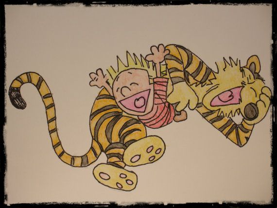 Calvin and Hobbes playing original signed by Nicoinstitches, $4.99