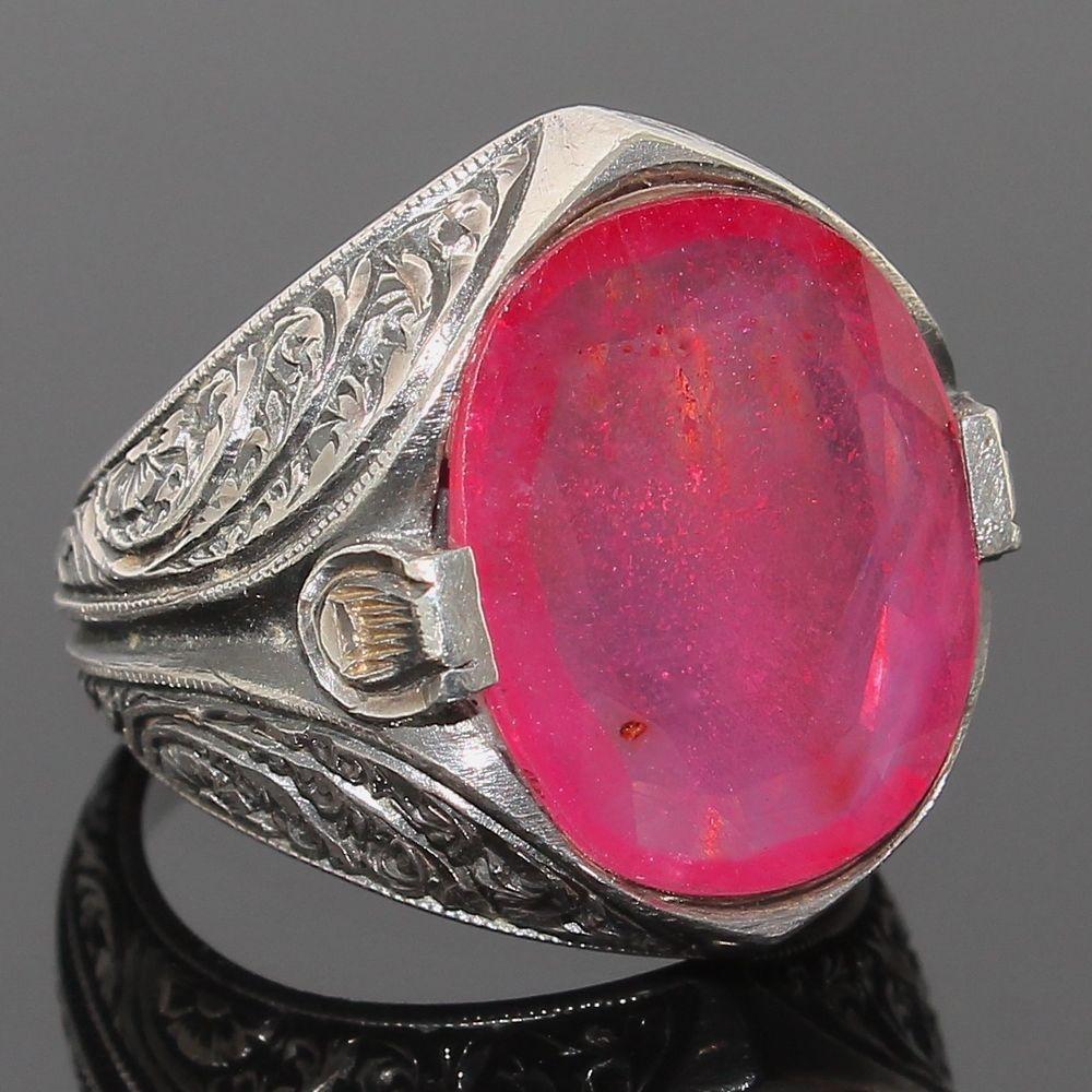 925 Sterling Silver Ring pink African Ruby corundum Handmade Mens ...