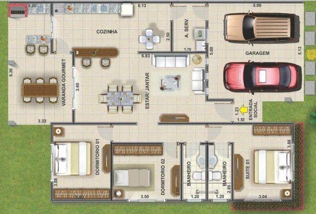 Plano de casa moderna de 3 dormitorios y cochera doble al for Plano casa minimalista 3 dormitorios