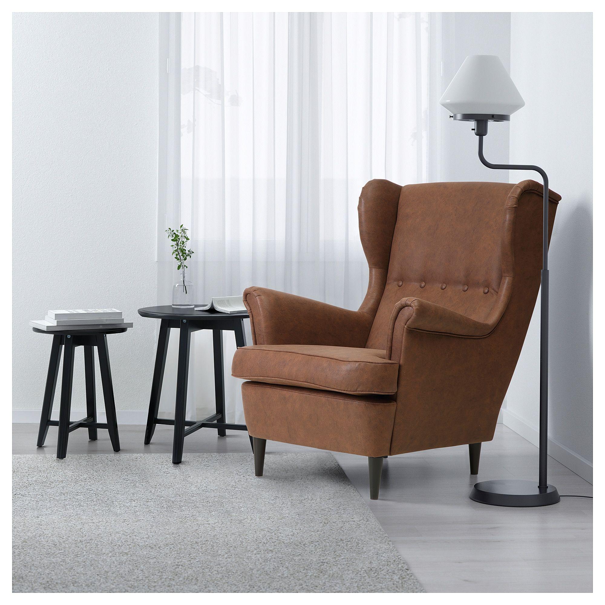 STRANDMON Wing chair Järstad brown Home decor, White