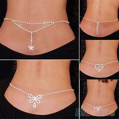 Love these!! New Sexy Silver Rhinestone Belly Waist Lower Back Chain Body Jewelry BB4U