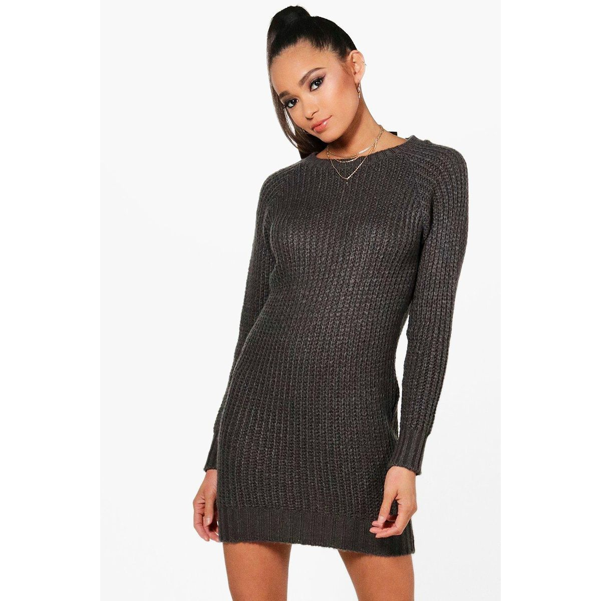 Robe Pull Courte Col Rond Manches Longues Tricot Robe Pull Robe Pull Et Robe Courte