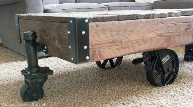 DIY Factory Cart Coffee Table. Not Full Instructions, But The Way She Did  The