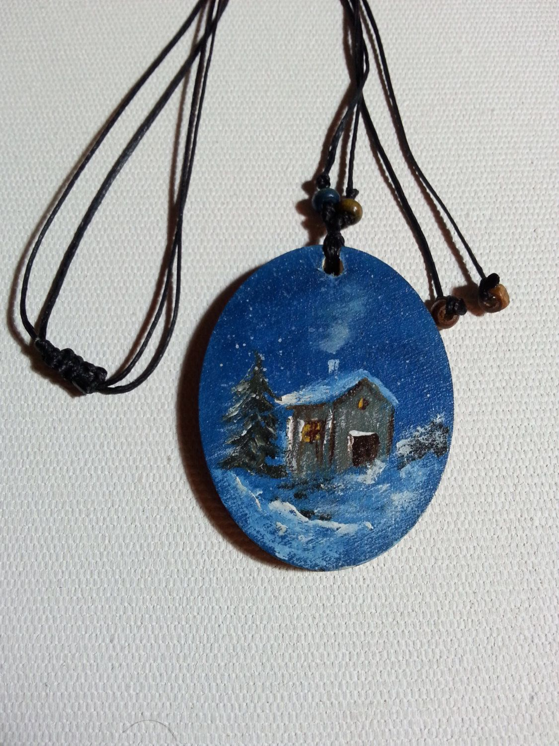 Hand Painted Necklace Handmade Jewelry Wooden Jewelry Handmade Painting The Snow View Mountain L Hand Painted Jewelry Hand Painted Necklace Wooden Jewelry