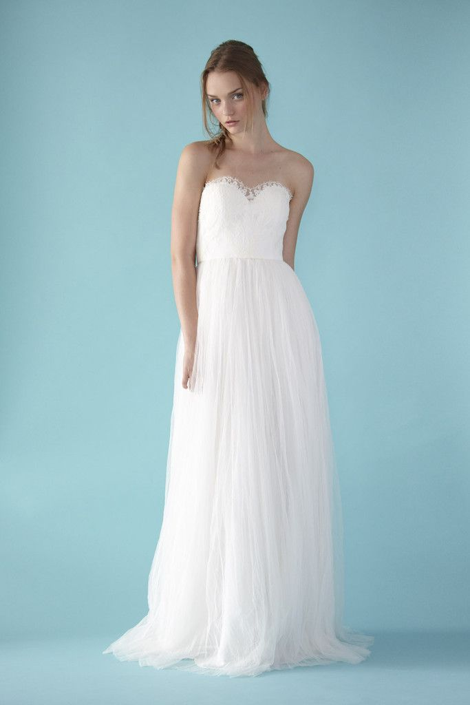 Love, Yu 'Calla' is a French lace sweetheart gown with tulle skirt.