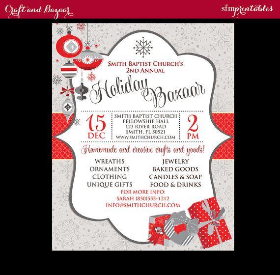 Holiday Craft Fair Christmas Bazaar Invitation Poster Template