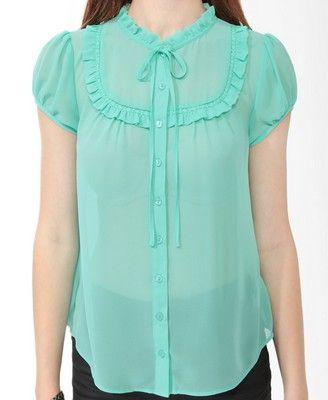 Sheer Ruffled Shirt | FOREVER21 - 2011409482