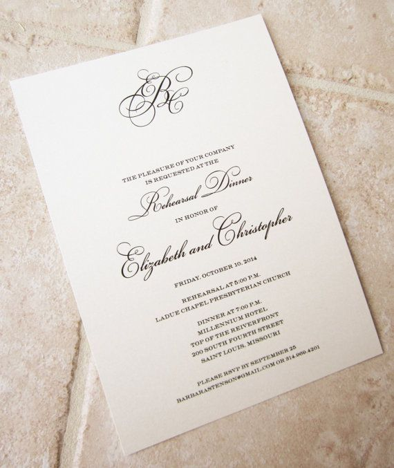 Classic Monogram Script Wedding Rehearsal Dinner Invitation - dinner invitation sample