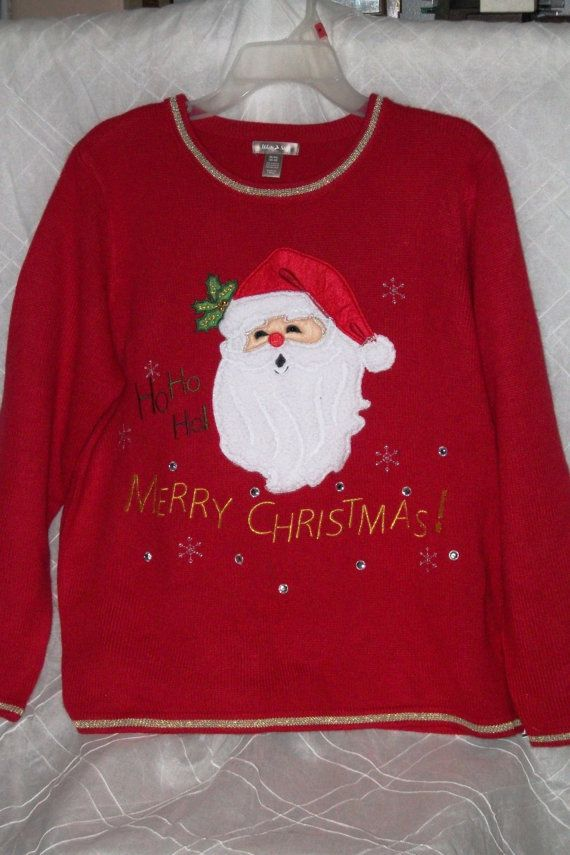 ugly christmas sweater santa ho ho ho merry by tackythreads 17 50