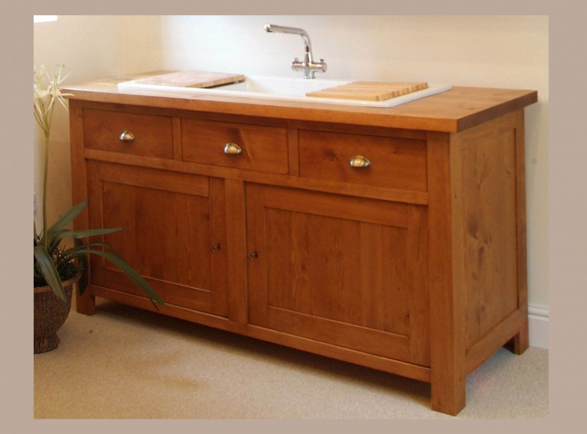 chic wood material frame free standing kitchen sinks appealing