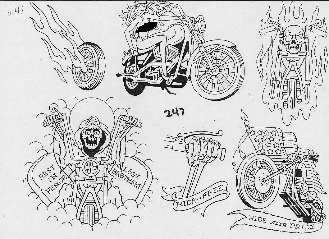 Motorcycle with biker tattoo - Harley Davidson Biker Tattoo On Lowerback