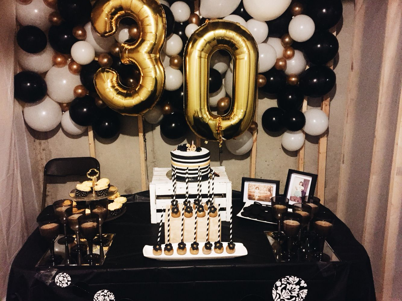 Surprise 30th bday party w/ gold, white, and black decor ...