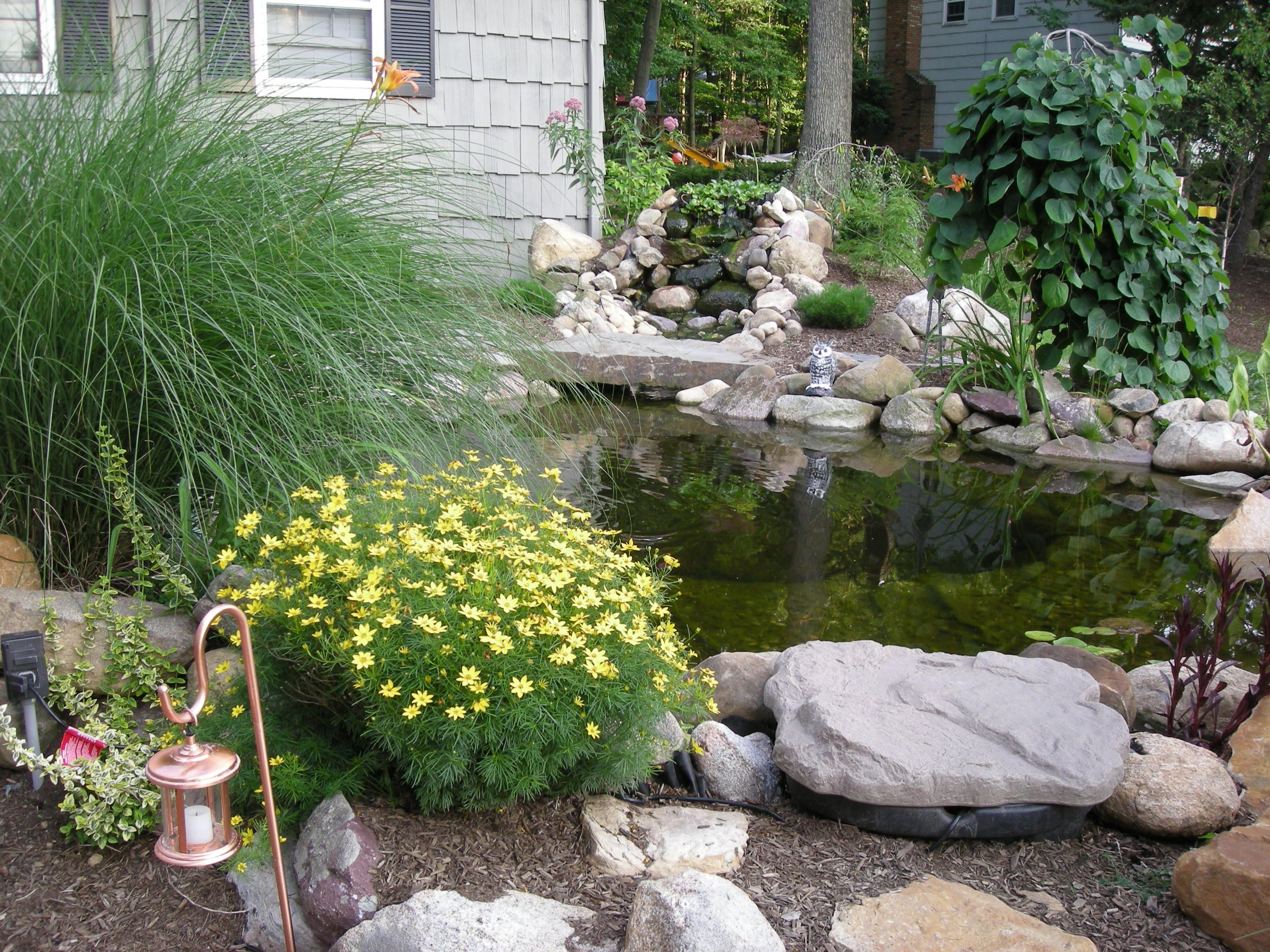Patios with fish ponds front yard koi pond with 4 foot for Waterfalls for ponds for sale
