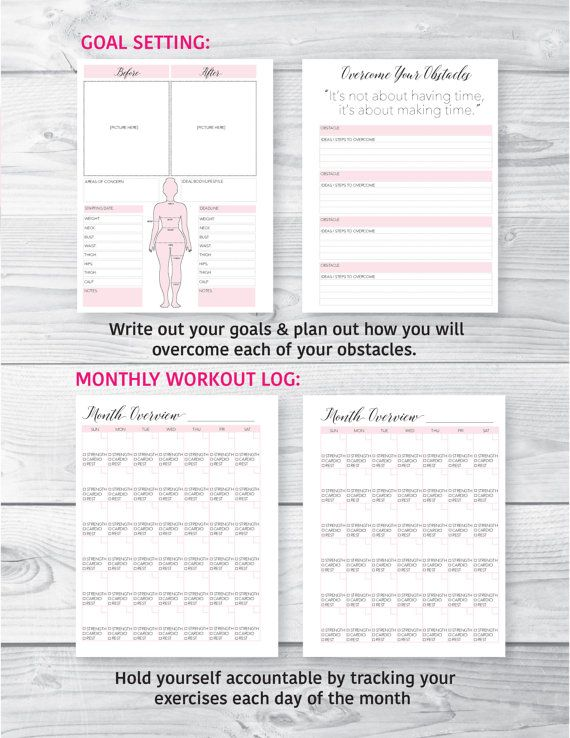 Fitness Planner Fitness Journal Health and Fitness Planner Workout - monthly workout log