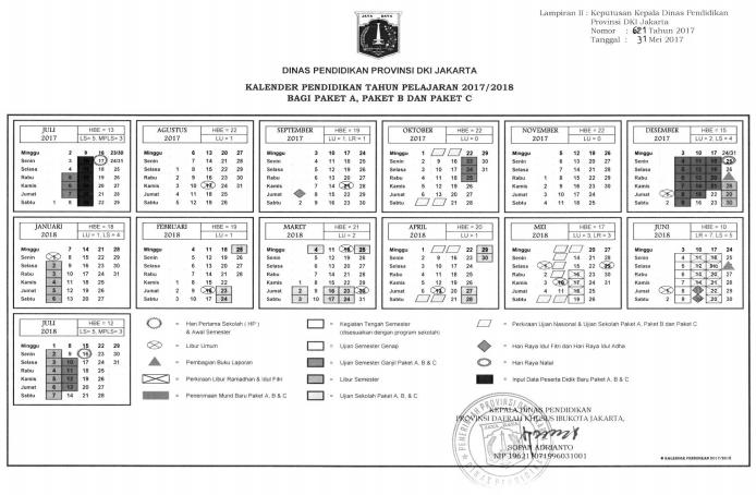 Kalender Pendidikan Provinsi Dki Jakarta Tahun Pelajaran 2017 2018 Pendidikan Kewarganegaraan Kalender Pendidikan Tanggal