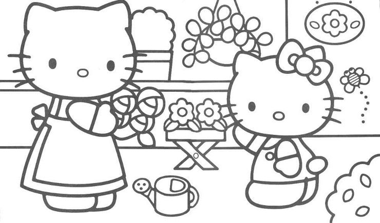 Awesome Mom Gardening Coloring Pages Hello Kitty Great Resolution Http Www Coloringoutline Hello Kitty Coloring Kitty Coloring Hello Kitty Colouring Pages