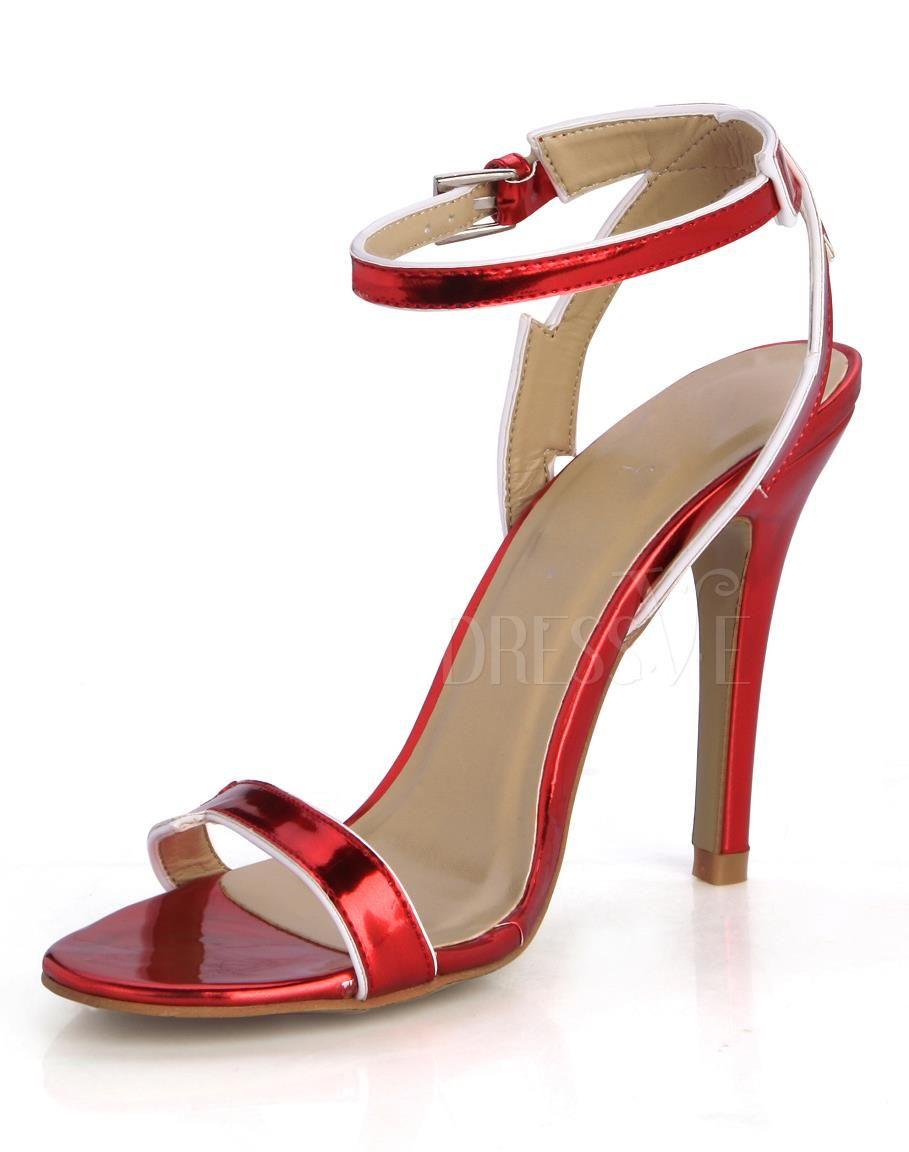 Glamorous Red Stiletto Heel Cross Ankle Strap Sandals