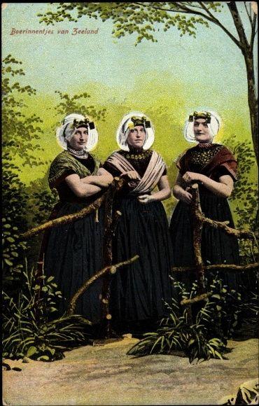 Postcard Boerinnentjes♥ van Zeeland, Drei Frauen in niederländischen Trachten