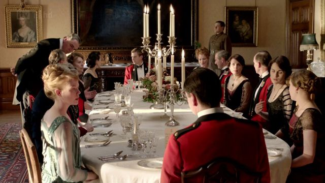 Characters Of Downton Abbey Having Dinner In The Dining Room At Captivating Highclere Castle Dining Room Decorating Design