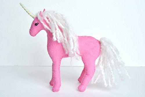 Handmade Christmas Gifts Wool Felt Stuffed Pink Unicorn with Optional Floral…