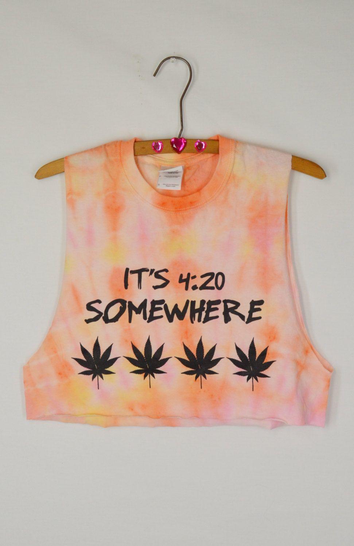 1a81755b12072 Pastel Tie Dye Crop Pot Leaf Hippie 420 Soft Grunge Small Medium ...