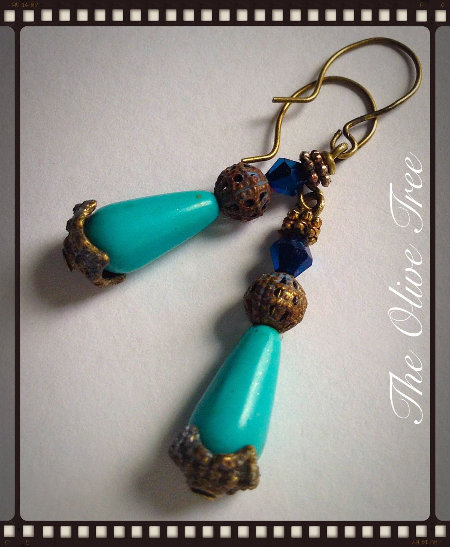 Turquoise Teardrop Bead Dangle Earrings - Boho Earrings - Hippie Earrings - Gypsy Earrings by TheOliveTreeAtelier on Etsy
