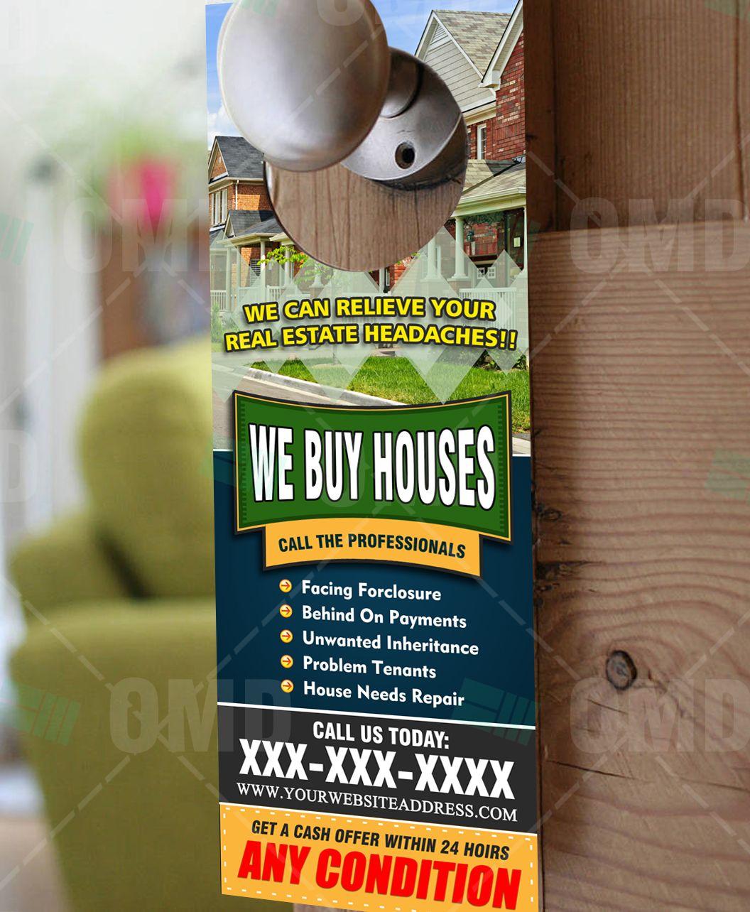 We Buy Houses Door Hanger 4 We Buy Houses Home Buying Real Estate Marketing Design