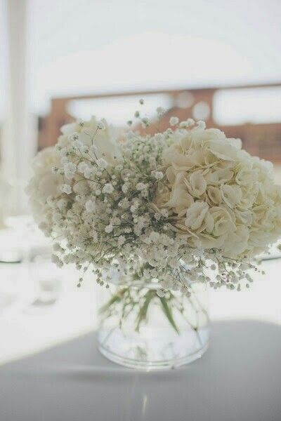 Hydrangea and baby s breath centerpiece in bowl vase