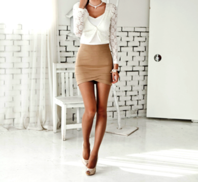Camel pencil skirt