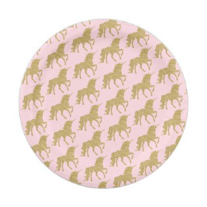 Unicorn Pink Gold Glitter Party Food Paper Plate | Glitter party and Gold glitter  sc 1 st  Pinterest & Unicorn Pink Gold Glitter Party Food Paper Plate | Glitter party and ...
