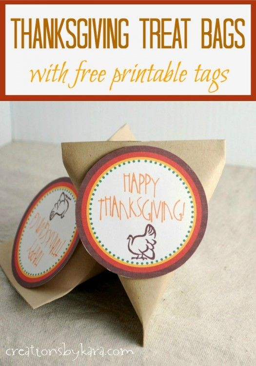e7cec5d31f Thanksgiving Treat Bags with Free Printable Gift Tags from  creationsbykara.com #thanksgiving