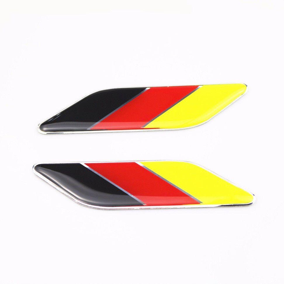 2x Germany Flag Metal Badge Sticker Emblem For German Car Volkswagen Audi Bmw Unbranded Car Gadgets