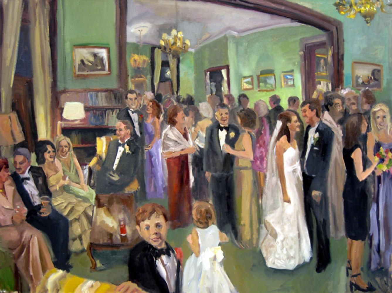 Live Event Painting Of A Black Tie Wedding Reception In The Las Lounge At Maryland