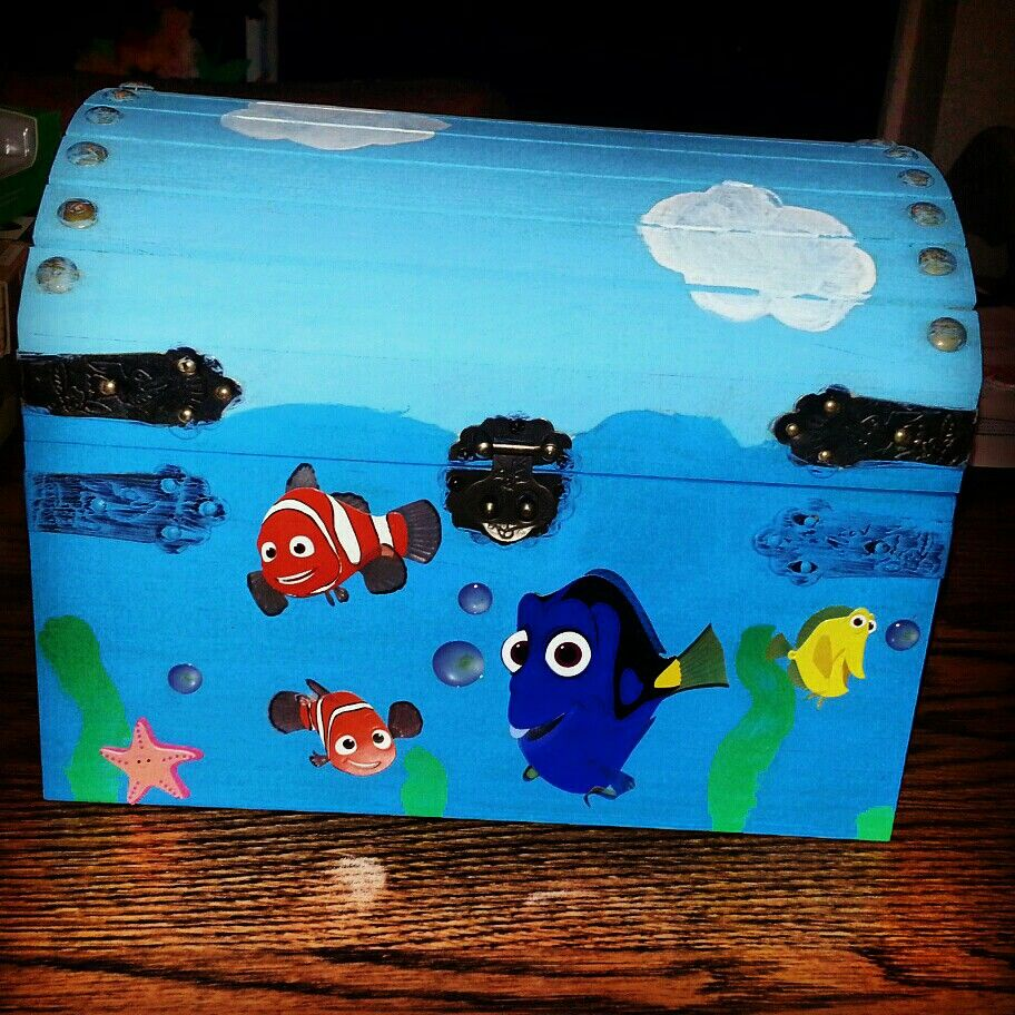 Unfinished wood craft boxes - Unfinished Wood Treasure Box From Hobby Lobby And Nemo Scrapbook Pieces Painted Then Added