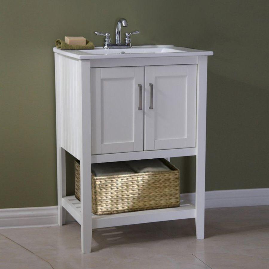 Legion Furniture White Integral Single Sink Bathroom Vanity With Ceramic Top Common 23 In Bathroom Vanity Contemporary Bathroom Vanity Single Bathroom Vanity