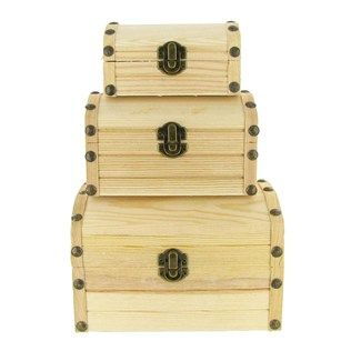 wood box set with brass hardware a natural  decoupage