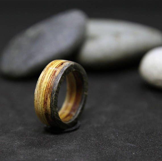 Handcrafted Wood Ring Mens Rings Wood Veneer Rings