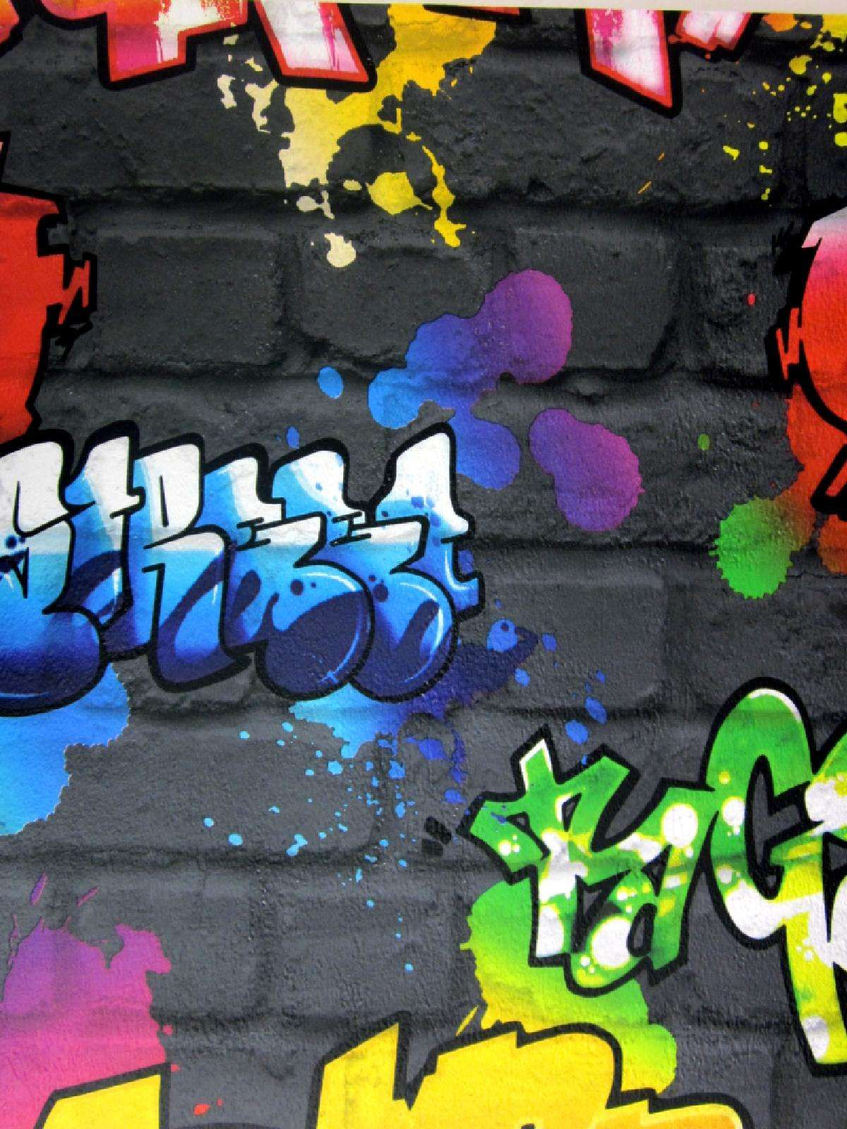 Graffiti art for your home - Cool Urban Graffiti Art For Your Walls Spray Painted Effect Luminous Graffiti Paint In Yellow Blue Red And Green Which Have Been Realistically Sprayed