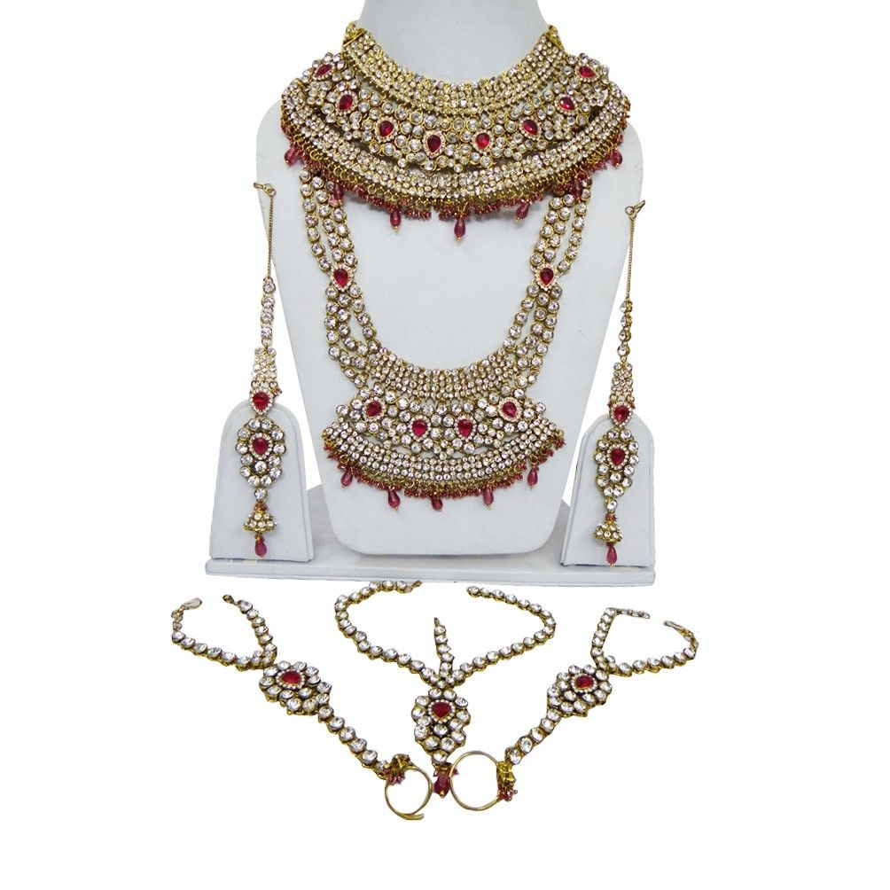 Gold Tone Magenta CZ Bridal Wear Necklace Set Indian Wedding Costume