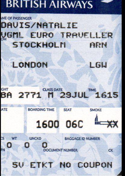 Airline Ticket Stub - Stockholm to London Jul 2000