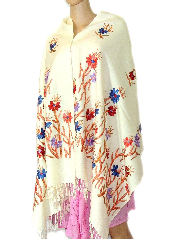 Indian Fashion Guru White Gift Designer Woolen Stole Flower Design Embroidery Stole Shawl Amazon In Clothing Accessor Indian Fashion Fashion