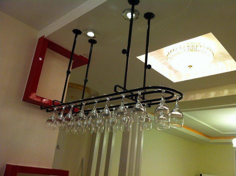 Wrought Iron Ceiling Hanging Wine Glass Rack Kitchen Wine Racks