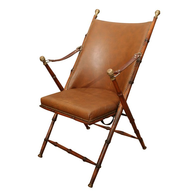 Campaign Furniture, Folding Leather Campaign Chair