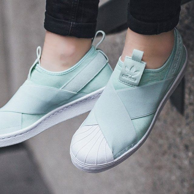 half off 41f0c c4123 So fresh and so clean. The Women s Superstar Slip-On Sneaker in Ice Mint  and White from  Adidas. Available on Karmaloop.com!
